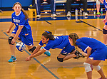 26 October 2014: Yeshiva University Maccabee Libero Shaina Hourizadeh, a Sophomore from Englewood, NJ, digs against the College of Mount Saint Vincent Dolphins, in Riverdale, NY. The Dolphins defeated the Maccabees 3-0 in the NCAA Division III Women's Volleyball Skyline matchup. Mandatory Credit: Ed Wolfstein Photo *** RAW (NEF) Image File Available ***