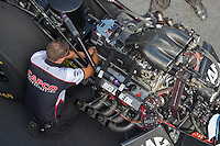 Sep 17, 2016; Concord, NC, USA; Crew member Gary Pritchett for NHRA top fuel driver Steve Torrence during qualifying for the Carolina Nationals at zMax Dragway. Mandatory Credit: Mark J. Rebilas-USA TODAY Sports