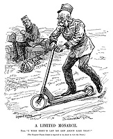 """A Limited Monarch. Tino. """"I wish they'd let me get about like that!"""" [The Emperor Franz Josef is reported to be about to visit the Front.] (Franz Joseph I of Austria rides a scooter while Constantine I of Greece sits with his baggage during WW1)"""
