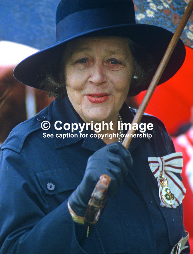 Dowager Duchess of Westminster, at a Riding for the Disabled event in Co Fermanagh attended by the Princess Royal, Princess Anne, during a royal visit to N Ireland, May 1985. 19850503DW3..Copyright Image from Victor Patterson, 54 Dorchester Park, Belfast, UK, BT9 6RJ..Tel: +44 28 9066 1296.Mob: +44 7802 353836.Voicemail +44 20 8816 7153.Skype: victorpattersonbelfast.Email: victorpatterson@me.com.Email: victorpatterson@ireland.com (back-up)..IMPORTANT: If you wish to use this image or any other of my images please go to www.victorpatterson.com and click on the Terms & Conditions. Then contact me by email or phone with the reference number(s) of the image(s) concerned.