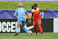 Piscataway, NJ - Saturday May 20, 2017: Nikki Stanton, Nichelle Prince during a regular season National Women's Soccer League (NWSL) match between Sky Blue FC and the Houston Dash at Yurcak Field.  Sky Blue defeated Houston, 2-1.
