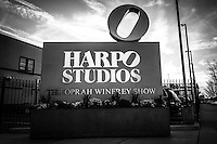 Chicago Harpo Studios sign for the Oprah Winfrey Show in black and white. Harpo Studios was home to the Oprah Winfrey show from 1986-2011 and also hosts other television shows.