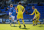 St Johnstone v St Mirren....21.03.15<br /> Murray Davidson and Michael O'Halloran get in each other's way<br /> Picture by Graeme Hart.<br /> Copyright Perthshire Picture Agency<br /> Tel: 01738 623350  Mobile: 07990 594431