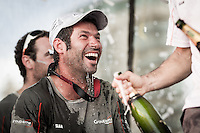 BRAZIL, Itajai.10th April 2012. Volvo Ocean Race. Olivier Mainguy, Rigger, Groupama celebrates finishing third on Leg 5 of the Volvo Ocean Race.