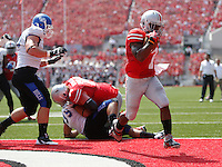 Ohio State Buckeyes running back Jordan Hall (7) scores on a two-point conversion in the first quarter during a football game between the Ohio State Buckeyes and the Buffalo Bulls on August 31, 2013 at Ohio Stadium (Columbus Dispatch photo by Fred Squillante)