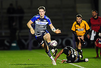 Sam James of Sale Sharks goes on the attack. European Rugby Challenge Cup quarter final, between Sale Sharks and Montpellier on April 8, 2016 at the AJ Bell Stadium in Manchester, England. Photo by: Patrick Khachfe / JMP