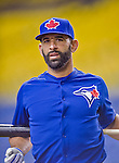 4 April 2015: Toronto Blue Jays outfielder Jose Bautista awaits his turn in the batting cage prior to an exhibition game against the Cincinnati Reds at Olympic Stadium in Montreal, Quebec, Canada. The Blue Jays defeated the Reds 9-1 in the second of two MLB weekend exhibition games. Mandatory Credit: Ed Wolfstein Photo *** RAW (NEF) Image File Available ***
