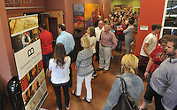 NWA Democrat-Gazette/Michael Woods --04/29/2015--w@NWAMICHAELW... Hundreds of people line up to see the artifacts from the Museum of the Bible on display at  Central United Methodist Church in Fayetteville Wednesday evening.