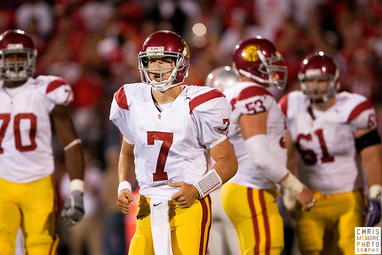 12 September 2009:  Football -- USC quarterback Matt Barkley looks for orders from the sideline during their game against Ohio State at Ohio Stadium in Columbus.  USC won 18-15.  Photo by Christopher McGuire.