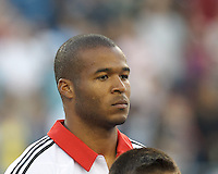 D.C. United defender Ethan White (15). In a Major League Soccer (MLS) match, the New England Revolution (blue) tied D.C. United (white), 0-0, at Gillette Stadium on June 8, 2013.