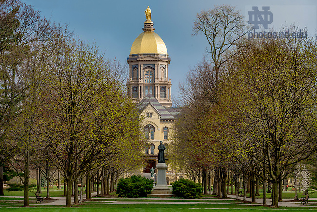 April 11, 2017; Main Quad in early spring (Photo by Matt Cashore/University of Notre Dame)