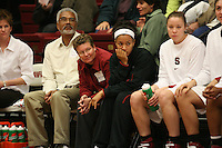29 November 2006: Stanford Cardinal professor Dr. Clay Carson, Carson's friend, Rosalyn Gold-Onwude, Christy Titchenal during Stanford's 88-56 win against the Santa Clara Broncos at Maples Pavilion in Stanford, CA.