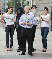 """NO REPRO FEE. 15/9/2010. John J. May launches his controversial book """"The Origin of Specious Nonsense"""" outside the Dail in Dublin.  Also pictured are a gorrila, Charles Darwin, Joan Fitzgerald and Janine Clancy. The launch will then commences at 7pm in Buswells hotel where he delivers his talk: """"How evolution made monkeys out of man""""Picture James Horan/Collins Photos"""