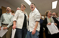 Dawn Rains, 42, and Heather Laird, 39, of Seattle have been together for nearly 15 years.They had a commitment ceremony 11 years ago with 160 guests and a wedding party of ten. On that day, they signed 39 pages of legal documents to approximate the protections of marriage as closely as possible...One month after Washington State voters approved the state's marriage equality law in Ref. 74, they received their marriage license on December 6th, 2012.