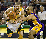 L.A. Lakers'  Seattle SuperSonics'  during the first half at the Key Arena in Seattle on January 14, 2008. (UPI Photo/Jim Bryant).