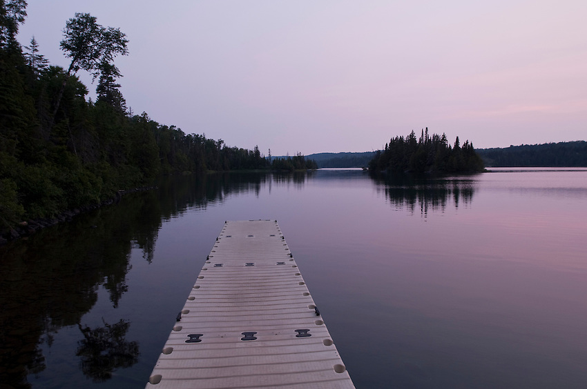 Dock on Tobin Harbor at Isle Royale National Park.