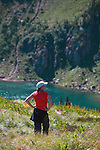 Taking in the scenery at Dalton Lake in the Great Burn proposed wilderness area in western Montana