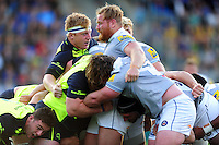The front rows pop up at a scrum. Pre-season friendly match, between Leinster Rugby and Bath Rugby on August 26, 2016 at Donnybrook Stadium in Dublin, Republic of Ireland. Photo by: Patrick Khachfe / Onside Images