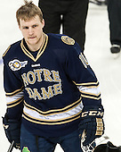 David Gerths (ND - 10) returned to the Irish lineup. - The visiting University of Notre Dame Fighting Irish defeated the Boston College Eagles 7-2 on Friday, March 14, 2014, in the first game of their Hockey East quarterfinals matchup at Kelley Rink in Conte Forum in Chestnut Hill, Massachusetts.
