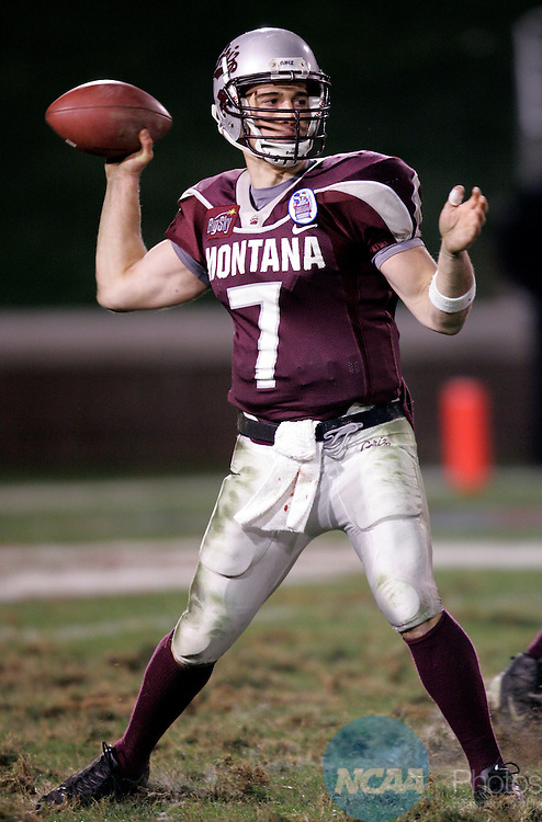 17 DEC 2004:  Quaterback Craig Ochs (7) of Montana University passed for a game-high 371 yards in a losing effort to James Madison during the Division 1-AA Men's Football Championship held at Finley Stadium in Chattanooga, TN.  James Madision defeated Montana 31-21 for the national title.  Jamie Schwaberow/NCAA Photos