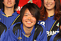 Haruka Hamada (Speranza), .FEBRUARY 16, 2012 - Football / Soccer : Speranza FC Osaka Takatsuki Press conference at NMB48 Theater in Osaka, Japan. Japanese ladies soccer team Speranza FC Osaka Takatsuki hold a joint press conference with members of NMB48, the Osaka version of the popular AKB48 idol group. Both women's soccer and girls idol groups are hugely popular in Japan after the national team's success at the Womens Soccer World Cup and the growing success of AKB48.