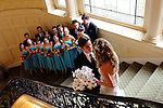 Bride and Groom's first look on the grand staircase of Sleepy Hollow Country Club