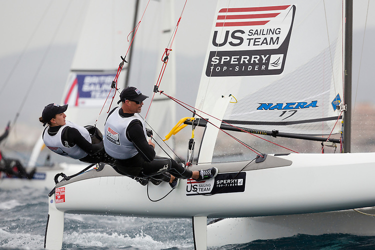 20140402, Palma de Mallorca, Spain: SOFIA TROPHY 2014 - 850 sailors from 50 countries compete at the ISAF Sailing World Cup event. Nacra17 - USA031 - Sarah Newberry / John Casey. Photo: Mick Anderson/SAILINGPIX.