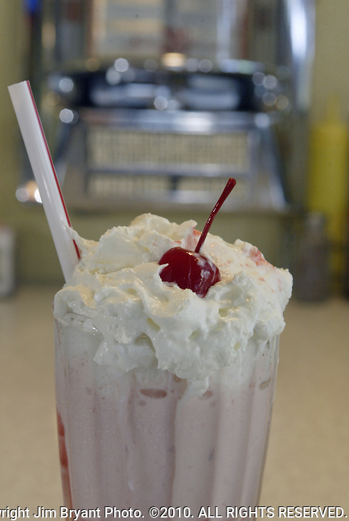 Strawberry milkshake.. Jim Bryant Photo. &copy;2010. All Rights Reserved.