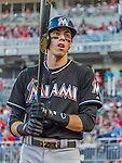 19 September 2015: Miami Marlins outfielder Christian Yelich on deck during a game against the Washington Nationals at Nationals Park in Washington, DC. The Marlins fell to the Nationals 5-2 in the third game of their 4-game series. Mandatory Credit: Ed Wolfstein Photo *** RAW (NEF) Image File Available ***