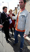 British National Party (BNP) leader Nick Griffin campaigning for the 2010 general election in the borough of Barking, East London..