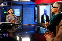 Sagarika Ghose hosting 'Indian of the Year' on CNN-IBN in Studio 1 on 6th December 2010. Photo by Suzanne Lee