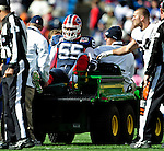 11 October 2009: Buffalo Bills' linebacker Kawika Mitchell is taken off the field with a leg injury during a game against the Cleveland Browns at Ralph Wilson Stadium in Orchard Park, New York. The Browns defeated the Bills 6-3 for Cleveland's first win of the season...Mandatory Photo Credit: Ed Wolfstein Photo