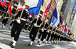 A general view of military marching in the annual St. Patrick's Day Parade in New York City on March 17, 2011.
