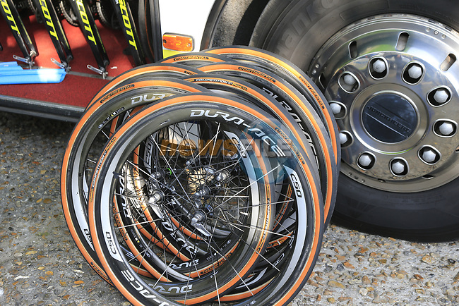 UAE Team Emirates spare wheels lined up outside the team bus at sign on for the 115th edition of the Paris-Roubaix 2017 race running 257km Compiegne to Roubaix, France. 9th April 2017.<br /> Picture: Eoin Clarke | Cyclefile<br /> <br /> <br /> All photos usage must carry mandatory copyright credit (&copy; Cyclefile | Eoin Clarke)