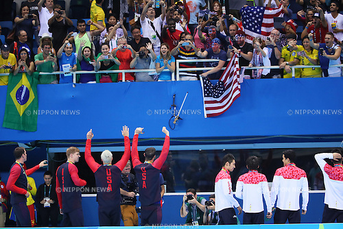 General view, <br /> AUGUST 9, 2016 - Swimming : <br /> Men's 4x200m Freestyle Relay Medal Ceremony <br /> at Olympic Aquatics Stadium <br /> during the Rio 2016 Olympic Games in Rio de Janeiro, Brazil. <br /> (Photo by Yohei Osada/AFLO SPORT)