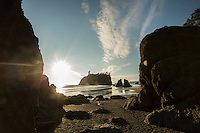 Abbey Island is the most photographed sea stack at Ruby Beach, just north of Kalaloch in Olympic National Park, Washington. Sea stacks are rock formations that are remnants of former headlands that the winds and waters of the Pacific Ocean have since eroded into stacks of rock standing at the beach.