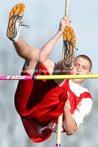 """Litchfield, CT-17 April 2012-041712CM08-  Northwestern's Erick Bailey clears 8'6"""" during the pole-vault  at a track and field meet against Litchfield, Northwestern and Wolcott Tech, Tuesday afternoon at Litchfield High School.   Christopher Massa Republican-American"""