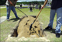 Cemetery workers bury former Sheriff Jim Clark in his home town of Elba, Ala. Clark was the sheriff of Dallas County, Ala., from 1955 to 1966. He was best known for his role in Bloody Sunday on the Edmund Pettus bridge in Selma. He died of a stroke at age 85.