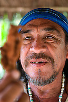 Belmiopan, Belize, May 2012. A Shaman demonstrates his healing toosl that he uses to diagnose medical problems in his patients. He then uses a mixture or herbal and spiritual techniques for the healing. Photo by Frits Meyst/Adventure4ever.com