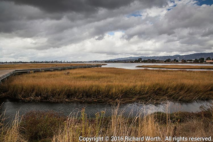 An urban wetland under a stormy sky - the observation platform extends into Arrowhead Marsh with the Oakland, California skyline on the horizon.