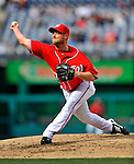 2 April 2011: Washington Nationals pitcher Chad Gaudin in action against the Atlanta Braves at Nationals Park in Washington, District of Columbia. The Nationals defeated the Braves 6-3 in the second game of their season opening series. Mandatory Credit: Ed Wolfstein Photo