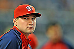 20 June 2008: Washington Nationals' third baseman Ryan Zimmerman (currently on the Disabled List) looks out from the dugout during a game against the Texas Rangers at Nationals Park in Washington, DC. The Nationals rallied in the eighth to tie, and then win 4-3 in the 14th inning of their inter-league matchup...Mandatory Photo Credit: Ed Wolfstein Photo