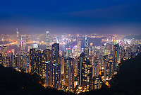 Hong Kong panorama from Victoria peak at night