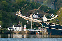 Crinan, Hebrides, Scotland, May 2010. At Crinan boats can take a shortcut through the canal and its locks. We are to big and anchor off shore to visit the pub and the lighthouse that line the Loch. Dutch Tallship Thalassa sails between the islands along the Scotish west coast in search of the quality single malt whisky that is produced by the many distilleries. Photo by Frits Meyst/Adventure4ever.com