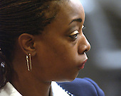 Lisa Brown, mother of sniper victim Iran Brown, watches as her son testifies during the trial of sniper suspect John Allen Muhammad in courtroom 10 at the Virginia Beach Circuit Court in Virginia Beach, Virginia on October 29, 2003.  Brown was shot on October 7, 2002 at the entrance of the Benjamin Trasker Middle School in Bowie, Maryland.<br /> Credit: Dave Ellis - Pool via CNP