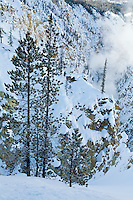 Grand Canyon of the Yellowstone in Yellowstone National Park during winter