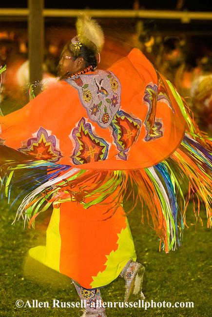 Teenage girl, blurred motion, Womens Fancy Shawl Dance, Crow Fair