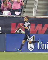 New England Revolution forward Diego Fagundez (14) celebrates his goal. In a Major League Soccer (MLS) match, the Seattle Sounders FC defeated the New England Revolution, 2-1, at Gillette Stadium on October 1, 2011.
