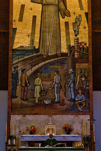 Taranto Italy 2010<br /> A detail of the mosaic in the &quot;church of the holy worker&quot; situated in Tamburi quarter in Taranto were it is possible to recognize the image of a chimney of ILVA steelworks. The church of Taranto is now overwhelmed by a scandal as a result of large amount of money donated from ILVA steelworks.