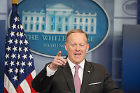 Washington DC, April13, 2017, USA:  Sean Spicer, the White House Press Secretary holds the daily briefing in the White House press room in Washington DC.  <br /> CAP/MPI/PYL<br /> &copy;PYL/MPI/Capital Pictures